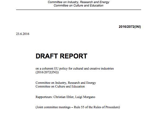 Avrupa Parlamentosu Kültürel ve Yaratıcı Endüstriler İçin Uyumlu Politikalar hakkındaki taslak raporunu hazırladı
