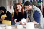 Curator Dilek Ozturk and Ceramic instrctor Resul Yilmaz