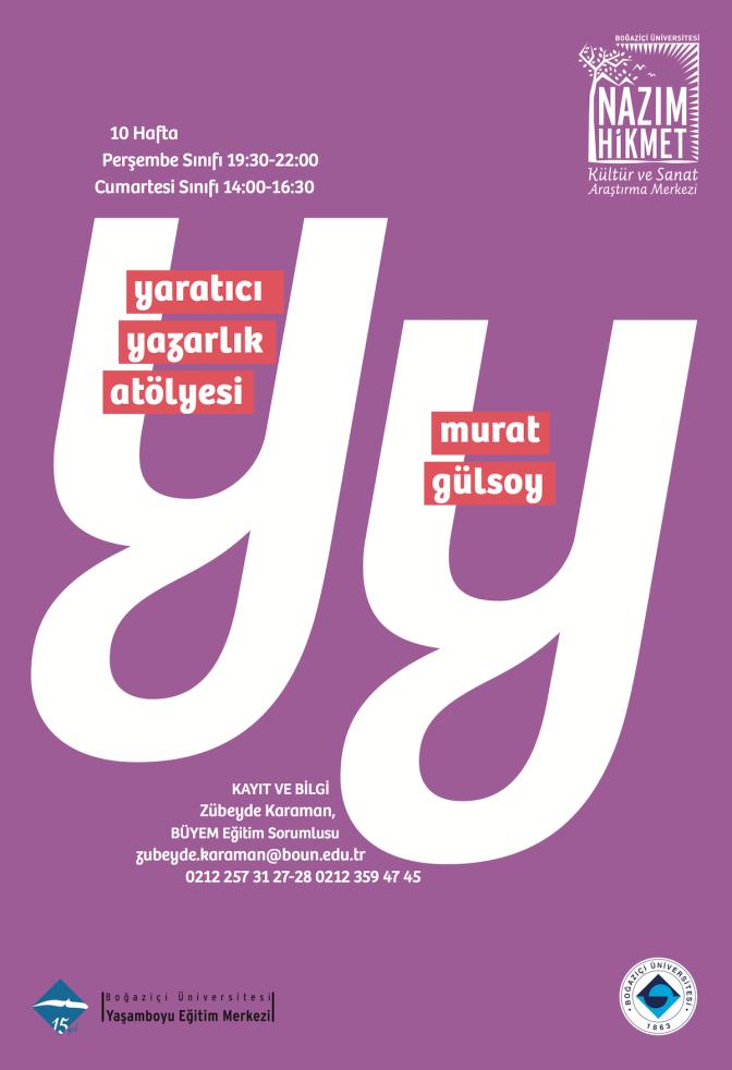 Boğaziçi Üniversitesi'nde Yaratıcı Yazarlık Dersleri Başlıyor