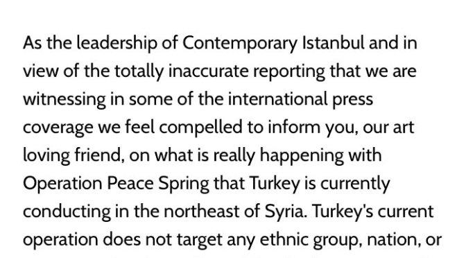 Contemporary Istanbul'dan Suriye'de yürütülen operasyon hakkında mektup