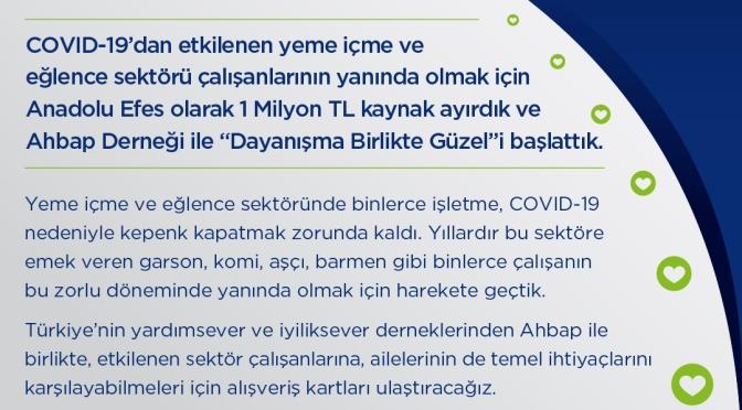 Anadolu Efes'ten yeme-içme ve eğlence sektörüne COVID-19 desteği